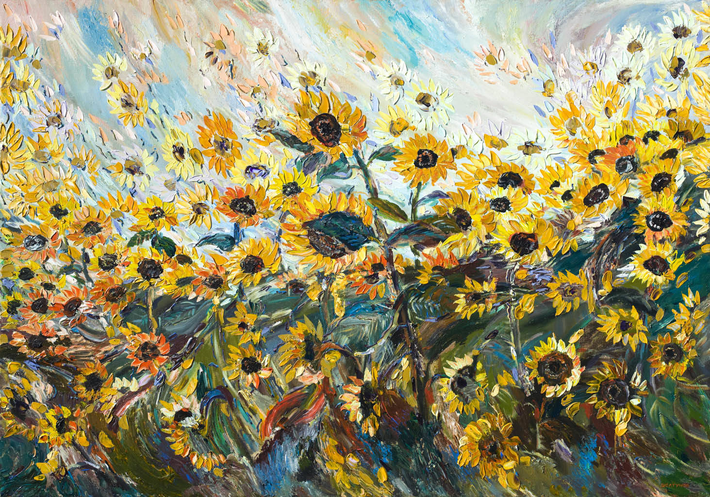 Alexander Sheltunov. Sunflowers 向阳花 2005 Oil on canvas 油画底布 140 × 200