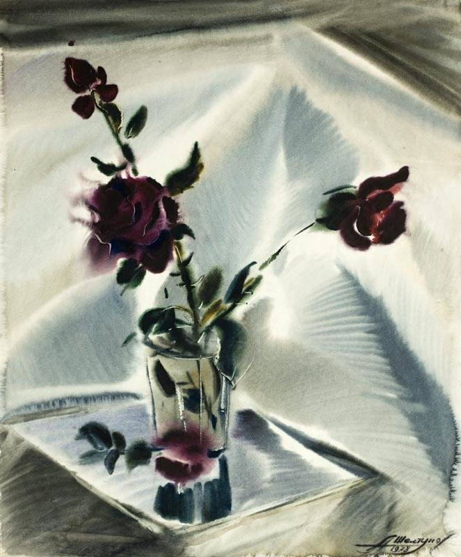 Alexander Sheltunov. Roses for Galina 加莉娜 1978 Paper, watercolour 水彩纸 58 × 48 cm