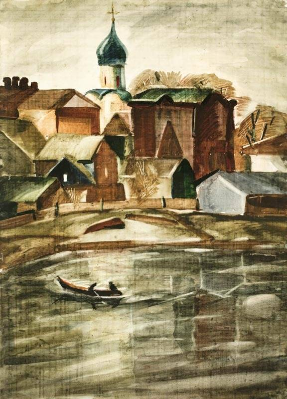 Alexander Sheltunov. The Silence at the Volhov 沉寂 1977 Paper, watercolour 水彩纸 59 × 42 cm