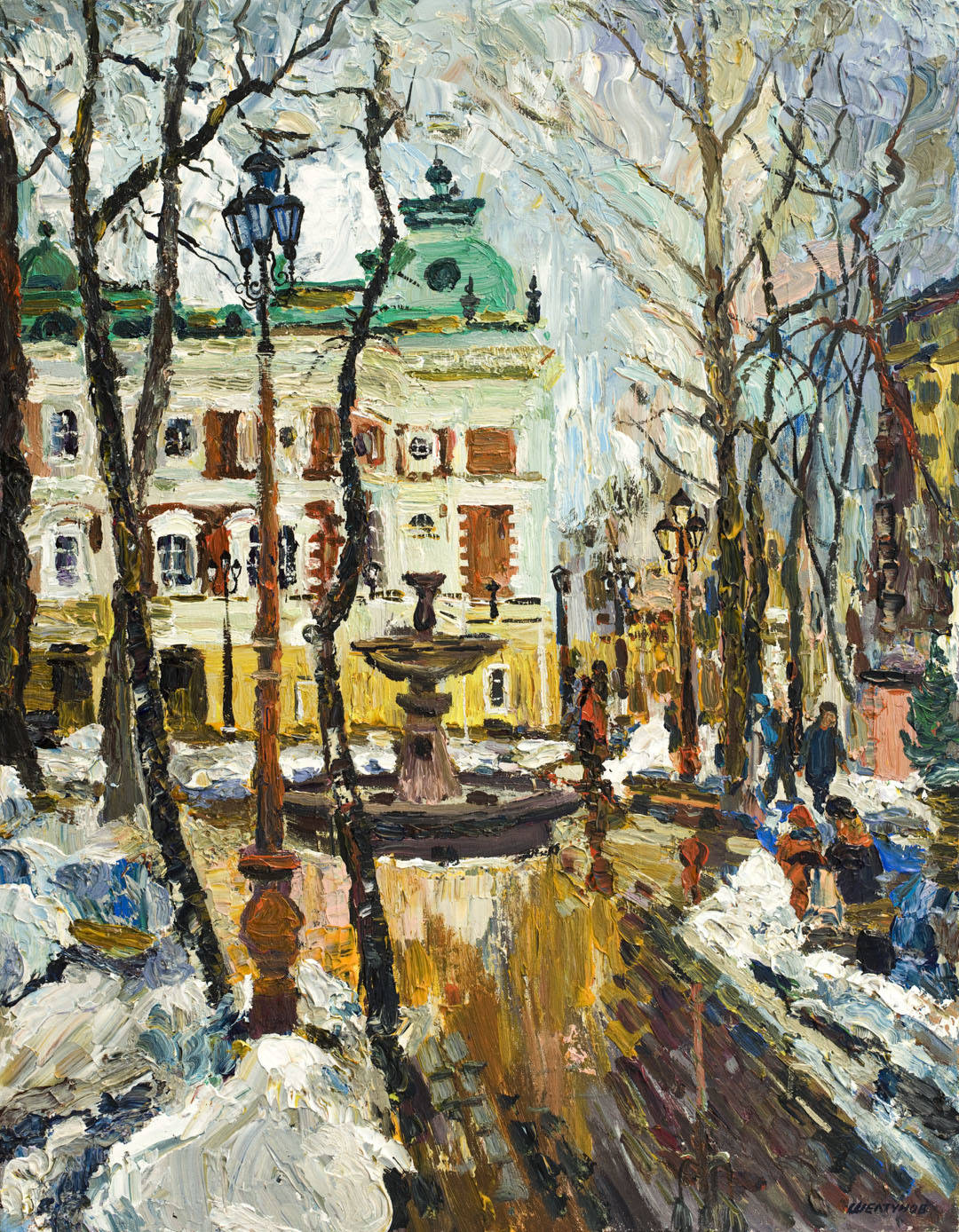 Alexander Sheltunov. Theatrical Small Yard 剧院小庭 2007 Oil on canvas 油画底布 90 × 70