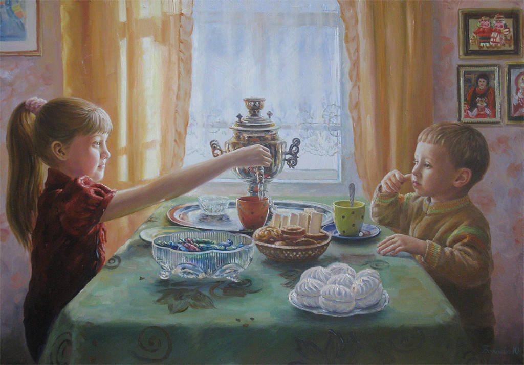 Чаепитие у бабушки( 50х70, х.м.)2012г