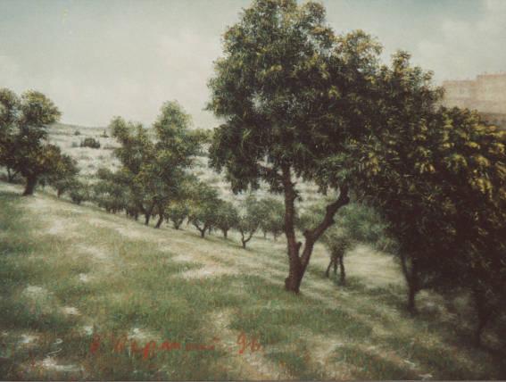 """Иерусалим. Оливковая роща.1996. Картон. Пастель. 50х65см. (Из серии """"Израиль"""")."""