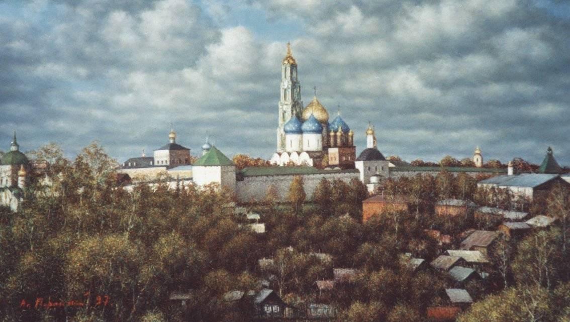 Вид на Троице-Сергиеву Лавру. 1997. Картон. Пастель. 63х112см.