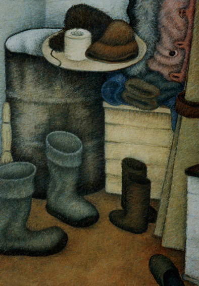 Валенки. (Интерьер дома в Пангодах).  1985.  Бумага. Пастель. 83х59см.
