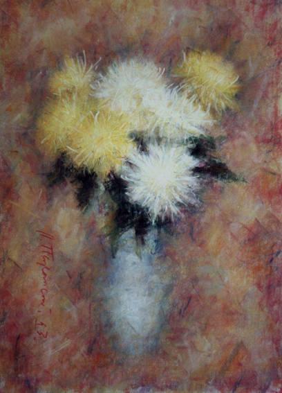 Большие хризантемы на розовом.1993. Бумага. Пастель. 73х51см.