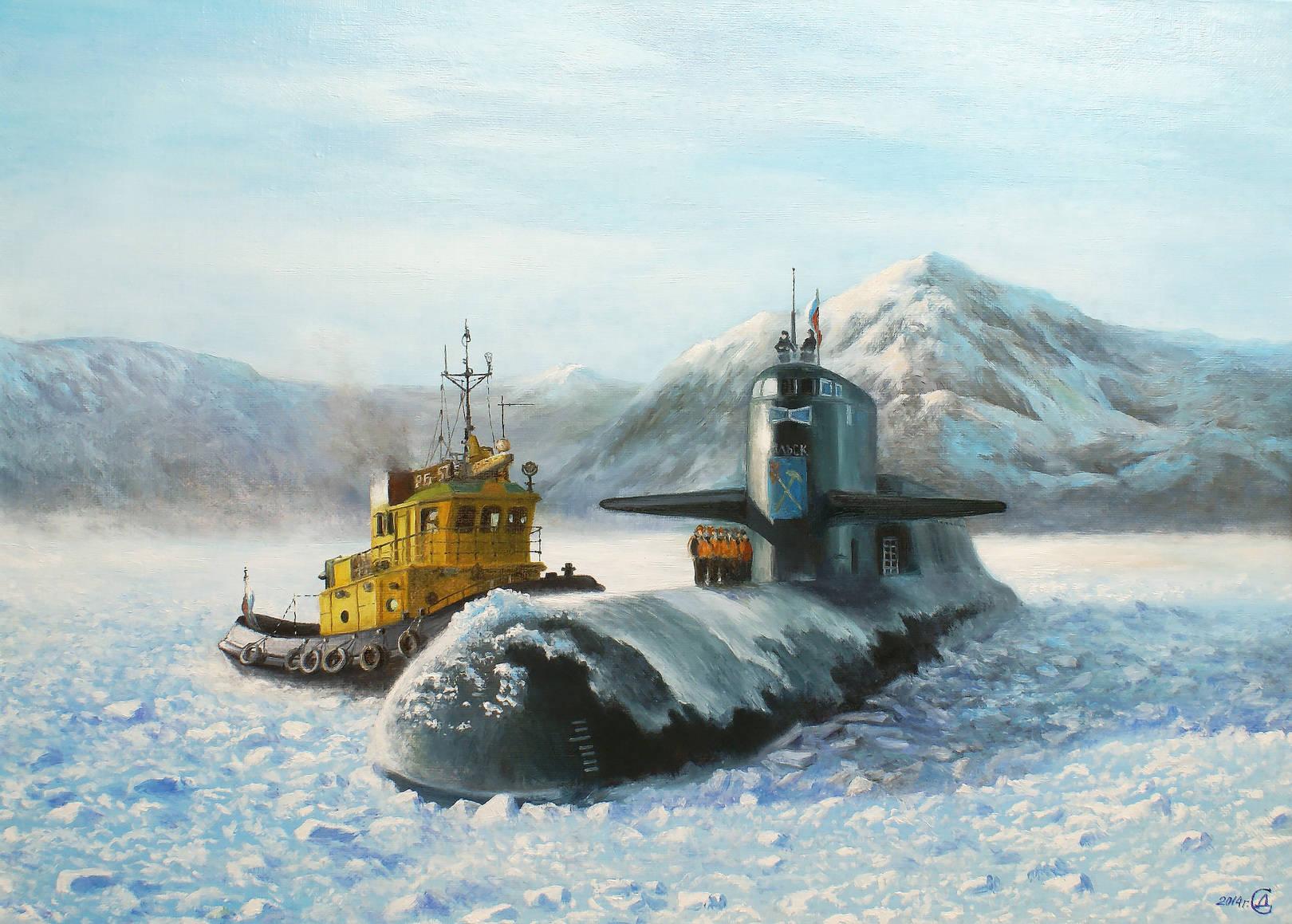 """""""Встреча во льдах"""" - х/м, 50х70"""
