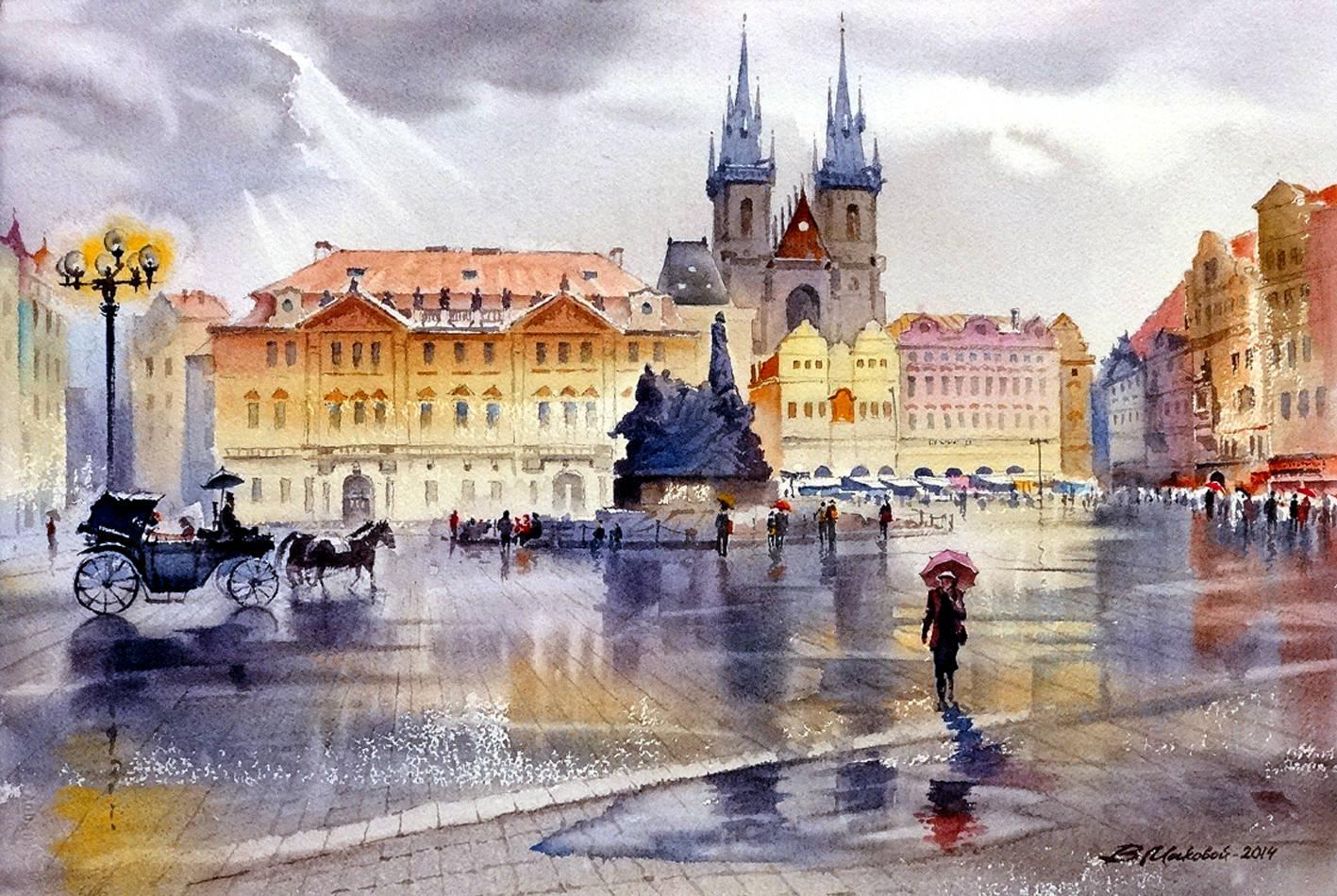 ,,Осенняя Прага,,акв.исполнена по воспоминаниям о посещении Чехии в ноябре 2014 г.
