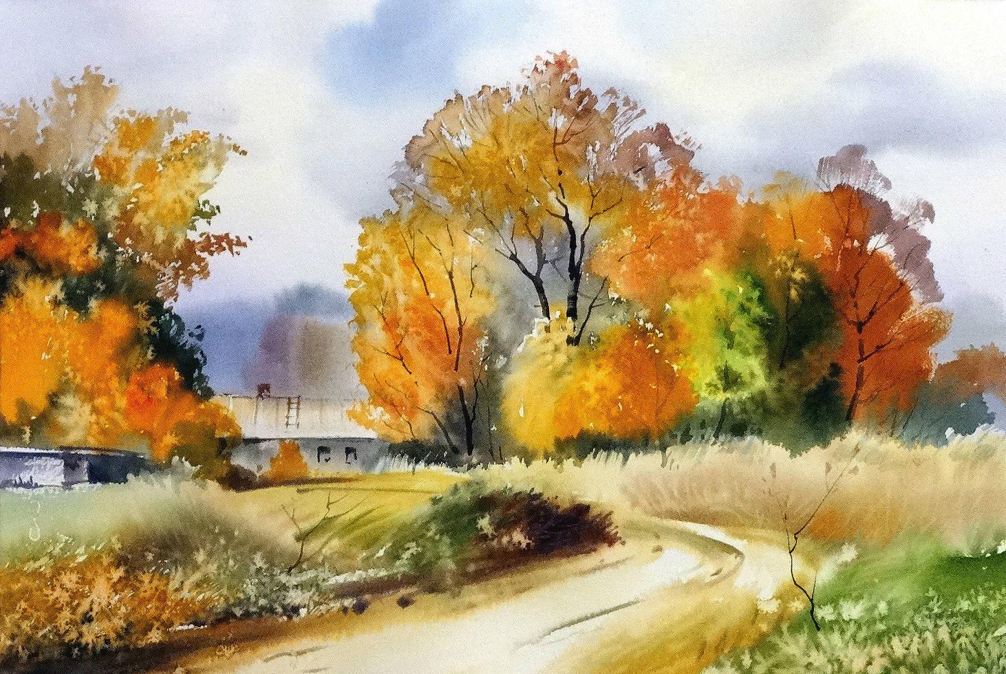 ,,Осень в Валдлаучи,,акв.бумага Arches 300 гр.38*57 см.2014 г.