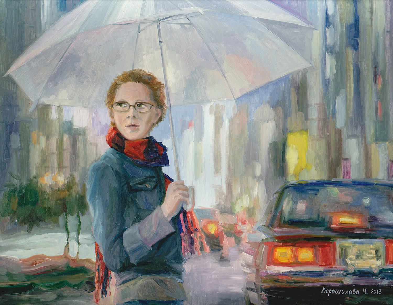 """Картина """"Под зонтом"""". Холст, масло, 70х90, 2013."""