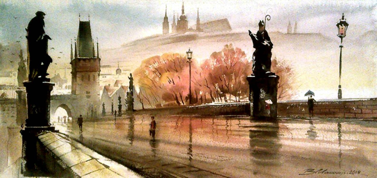 ,,Карлов мост в Праге,,акв.бумага Arches 300 гр.28*48 см.2014 г.