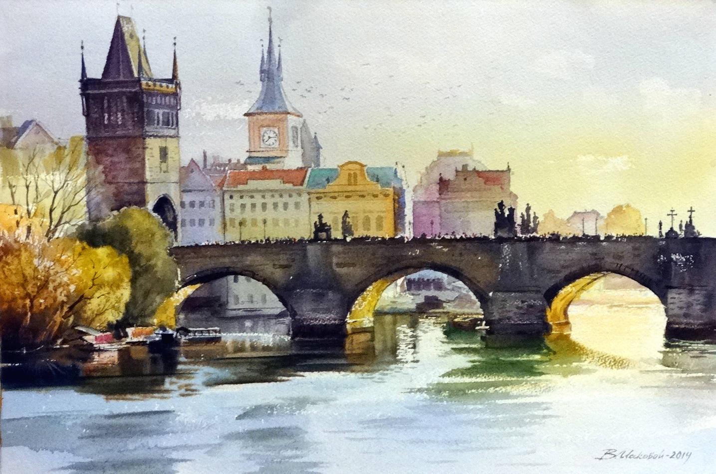 ,,Карлов мост,,акв.бумага Fabriano+Artistico 300 гр.38*57 см.2014 г.