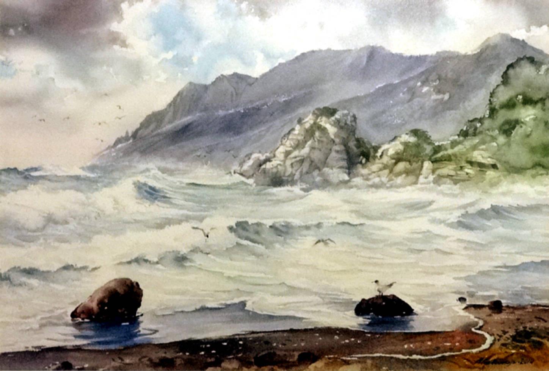 Морской пейзаж.Акв.бумага Saunders Waterford 300 гр.38*57 см.2014 г.