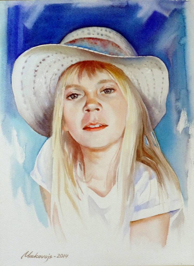 Портрет любимой внучки Анастасии.Акв.бум.Saunders Waterford 300 гр.41*31 см.