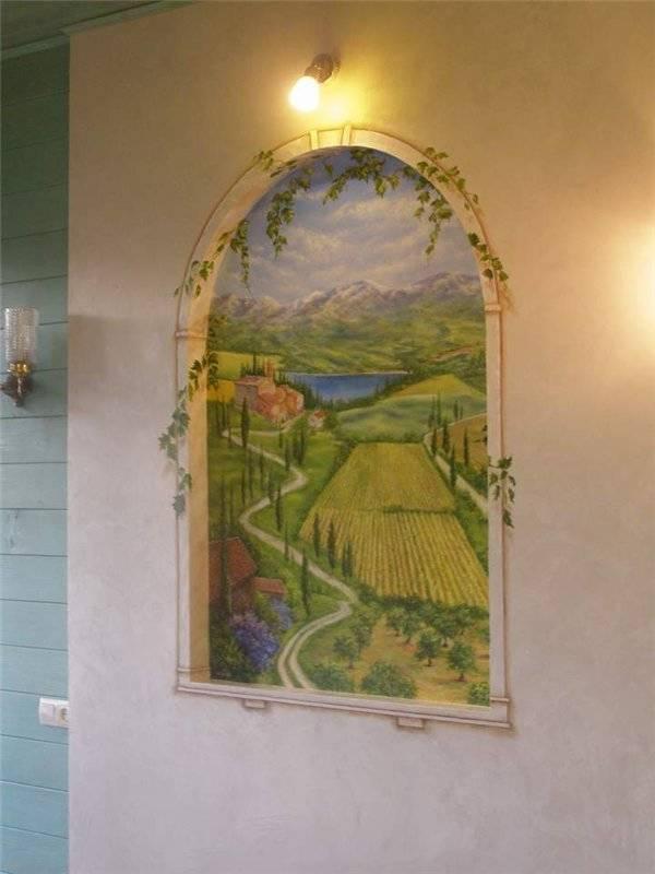 Роспись всего дрма,стена 4-я.эмитация окна(вид на Тоскану),Киев,Осокорки