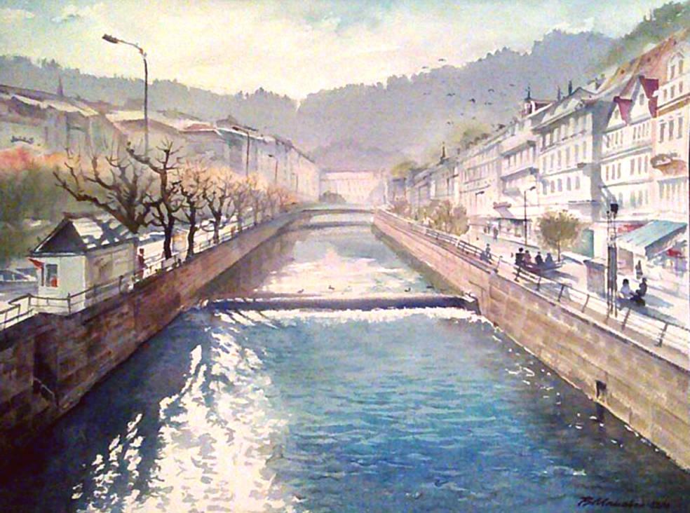 Река Тепла.Карловы Вары.Чехия.акварель,31*41 см.2014 г.