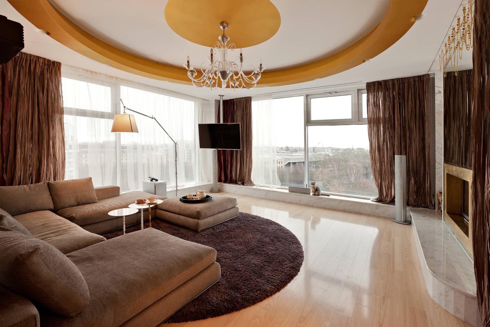 Коричневая гостиная - 85 фото идей дизайна интерьера коричне.