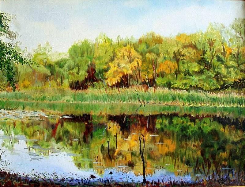 Озеро Култушинское. Холст, масло, 60х45.  2002 г.