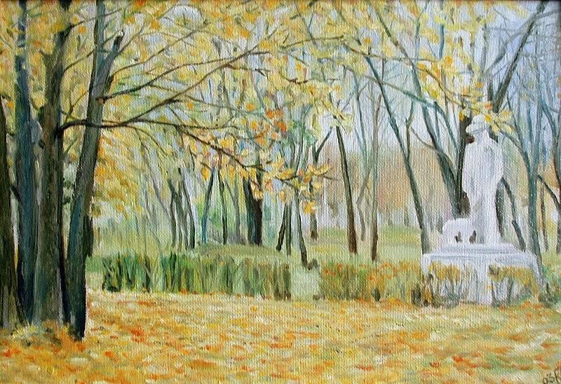 Осень в парке. Оргалит, масло, 59х41.  2003 г