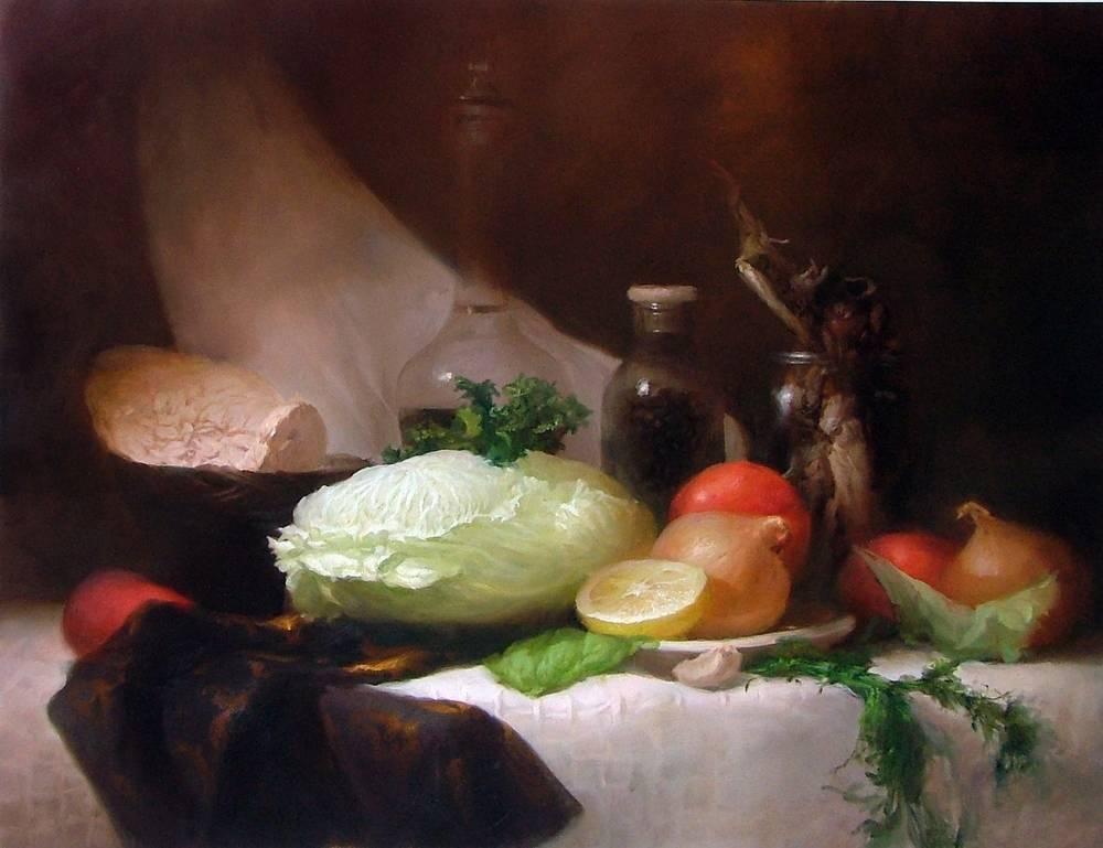 """Севрюков. """"Натюрморт с капустой"""". Холст, масло, 60-70см. 2010г. Частная коллекция."""