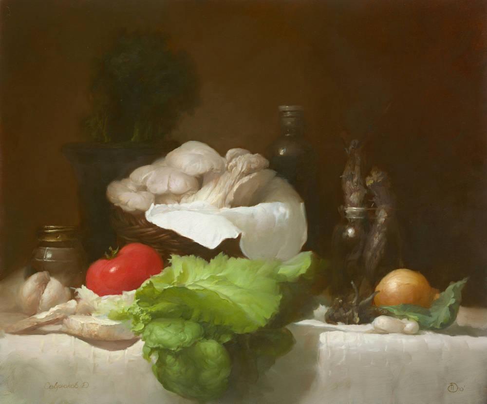 """Севрюков. """"Вешанки"""". Холст, масло, 60-70см. 2010г. Частная коллекция."""