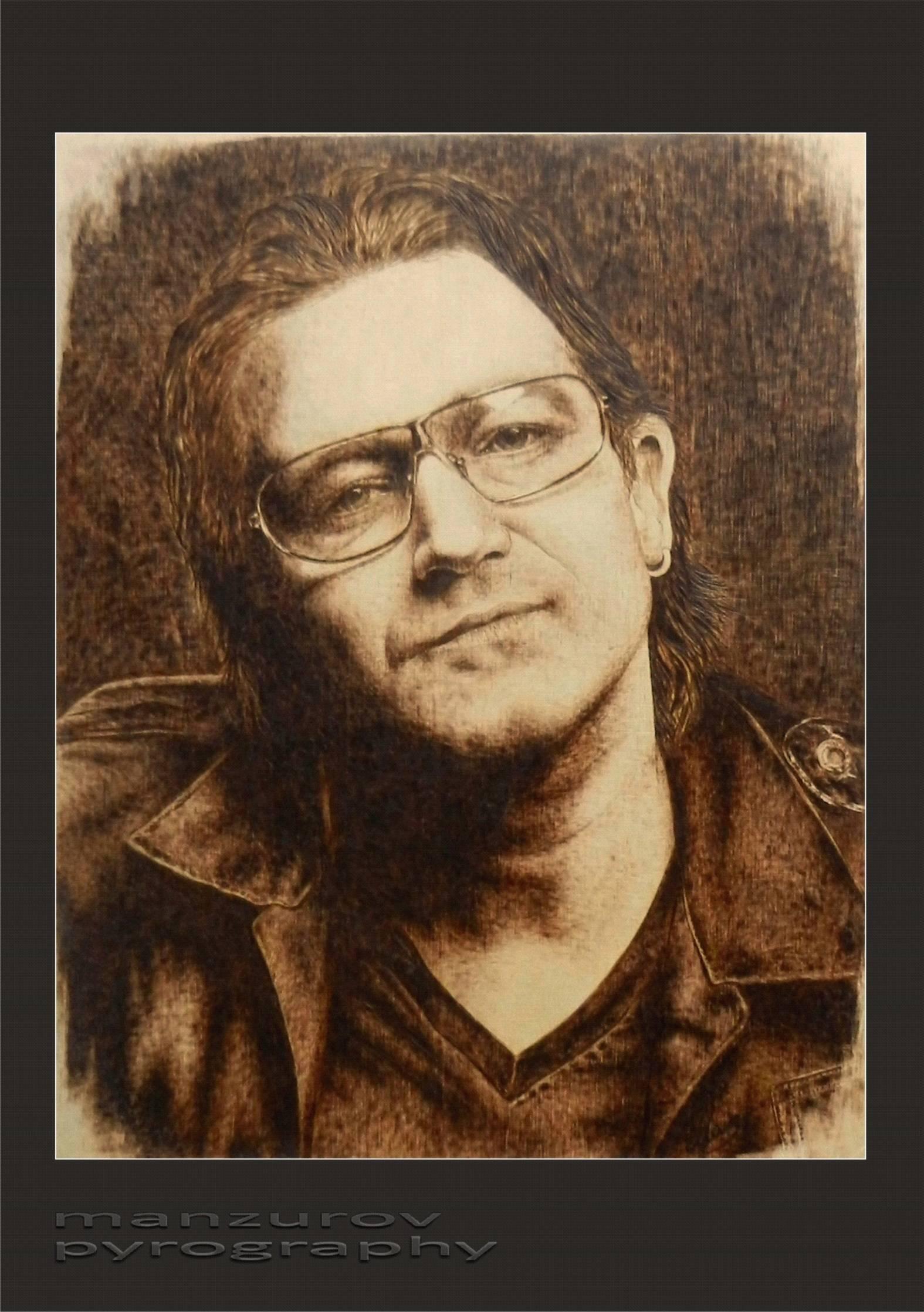 Bono. Пирография, березовая фанера, матовый лак. Размер 28х45см