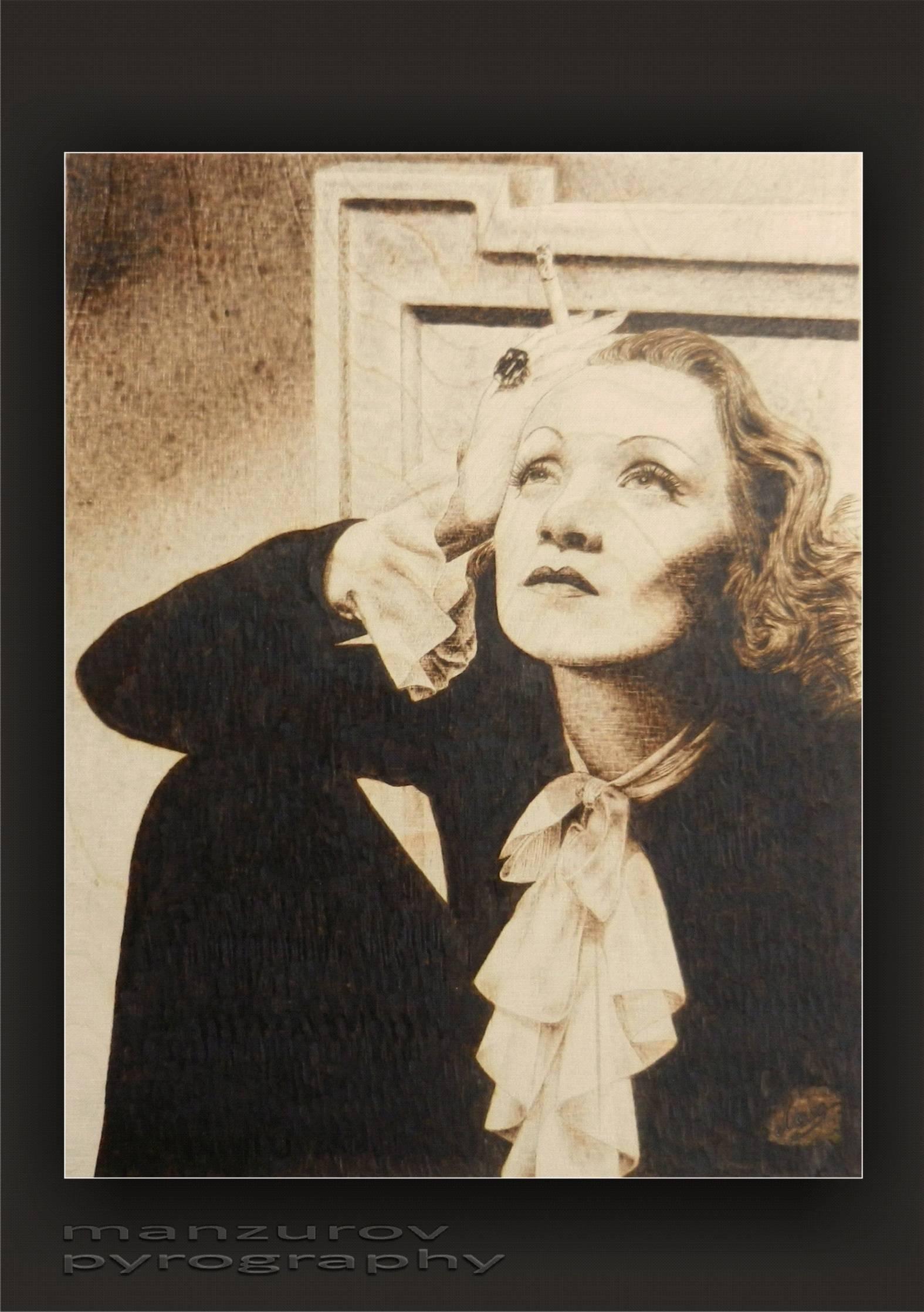 Марлен Дитрих. Пирография, березовая фанера, матовый лак. Размер 42х60см