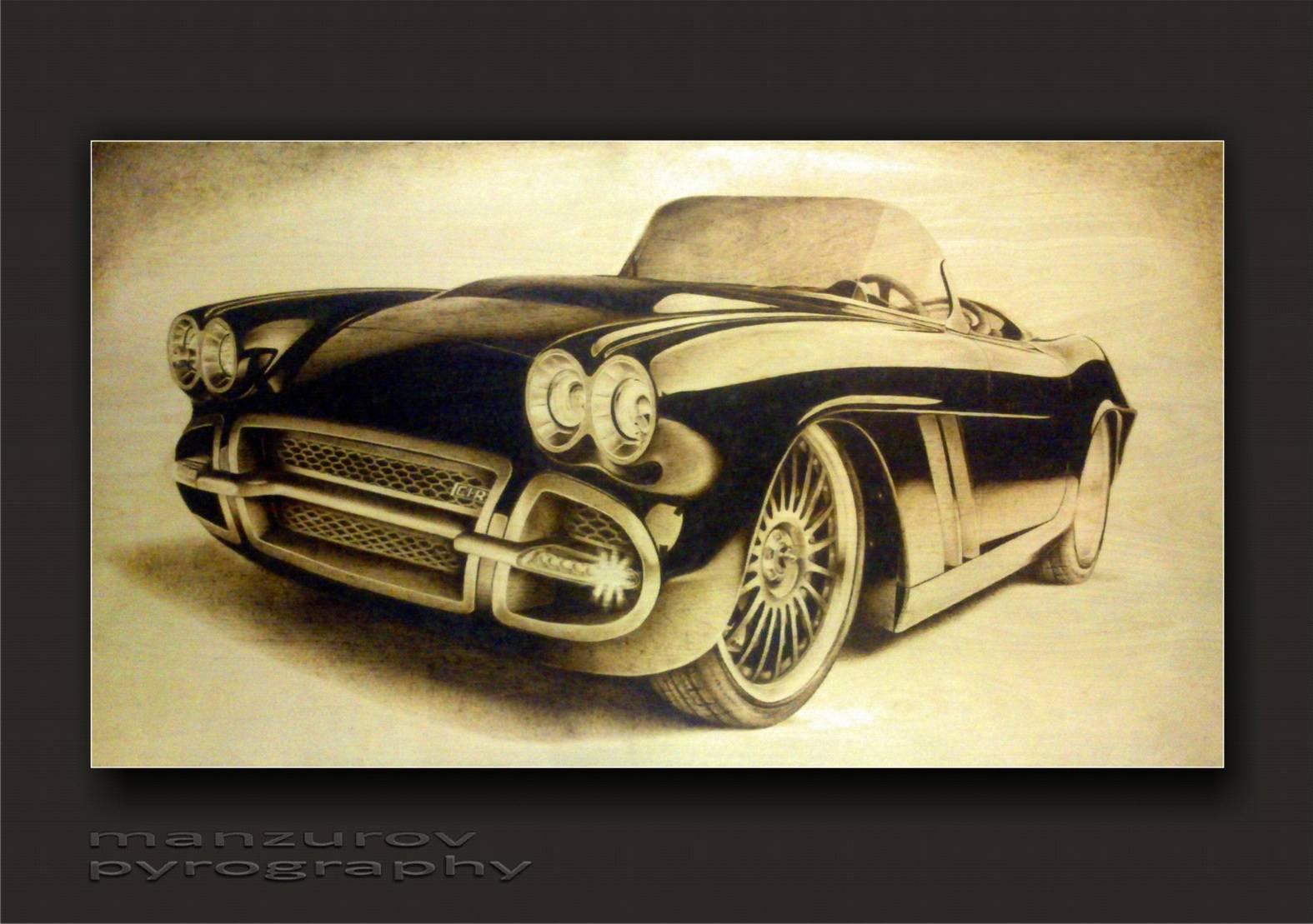 Corvette. Пирография, березовая фанера, матовый лак. Размер 55х100см