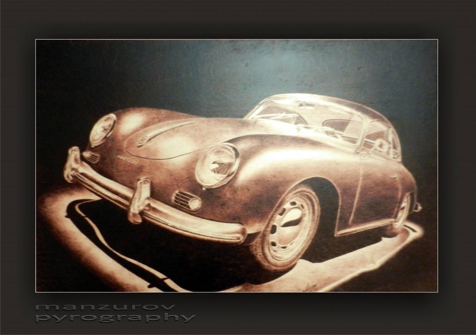 Porsche. Пирография, березовая фанера, матовый лак. Размер 55х100см