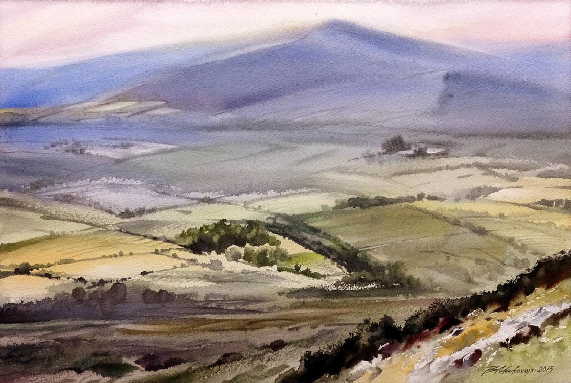 ,,Среди долины ровнЫя,,акв.исполненная в Ирландии.Бум.Fabriano+Artistico 300 гр.38*57 см.2015 г.
