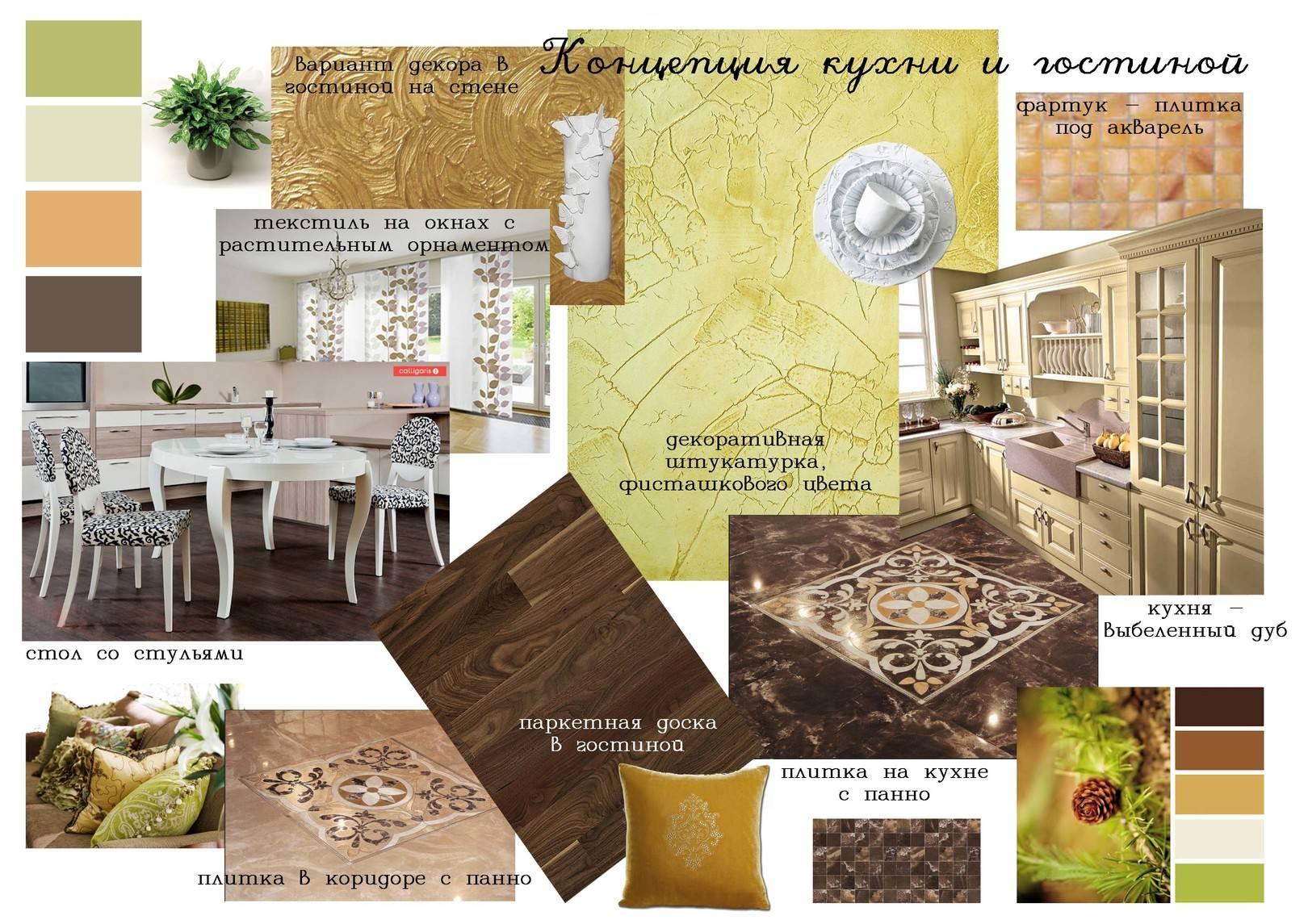 Концепция кухни и гостиной