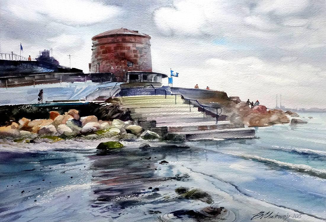 ,,Ирландское море,,Акв.бум.Fabriano+Artistico 300 гр.38*57 см.2015 г.