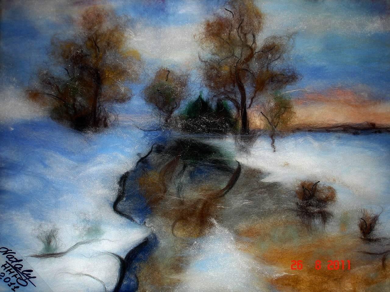 Шерстяная акварель -  Зимушка-зима