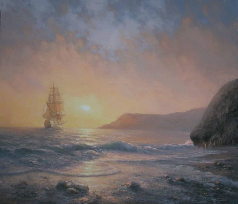 """""""У ног шумел прибой. Мелькал корабль, с зарею уплывавший средь нежных, изумрудно-пенных волн, как лебедь белый, крылья распластавший."""""""