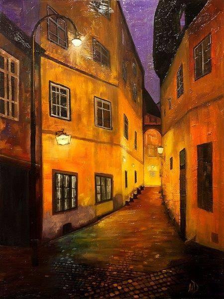 Ночная улочка. Вена. 90х70
