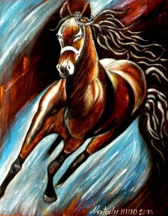 Роспись маслом по замше\бархату - серия Лошади