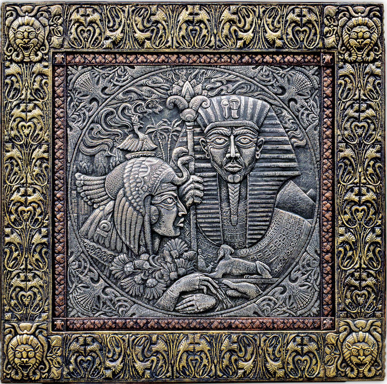 Фараон и принцесса   (панно) 1996 г.                                                                                                                     Алюминий, медь, латунь, чернение.  92х92см