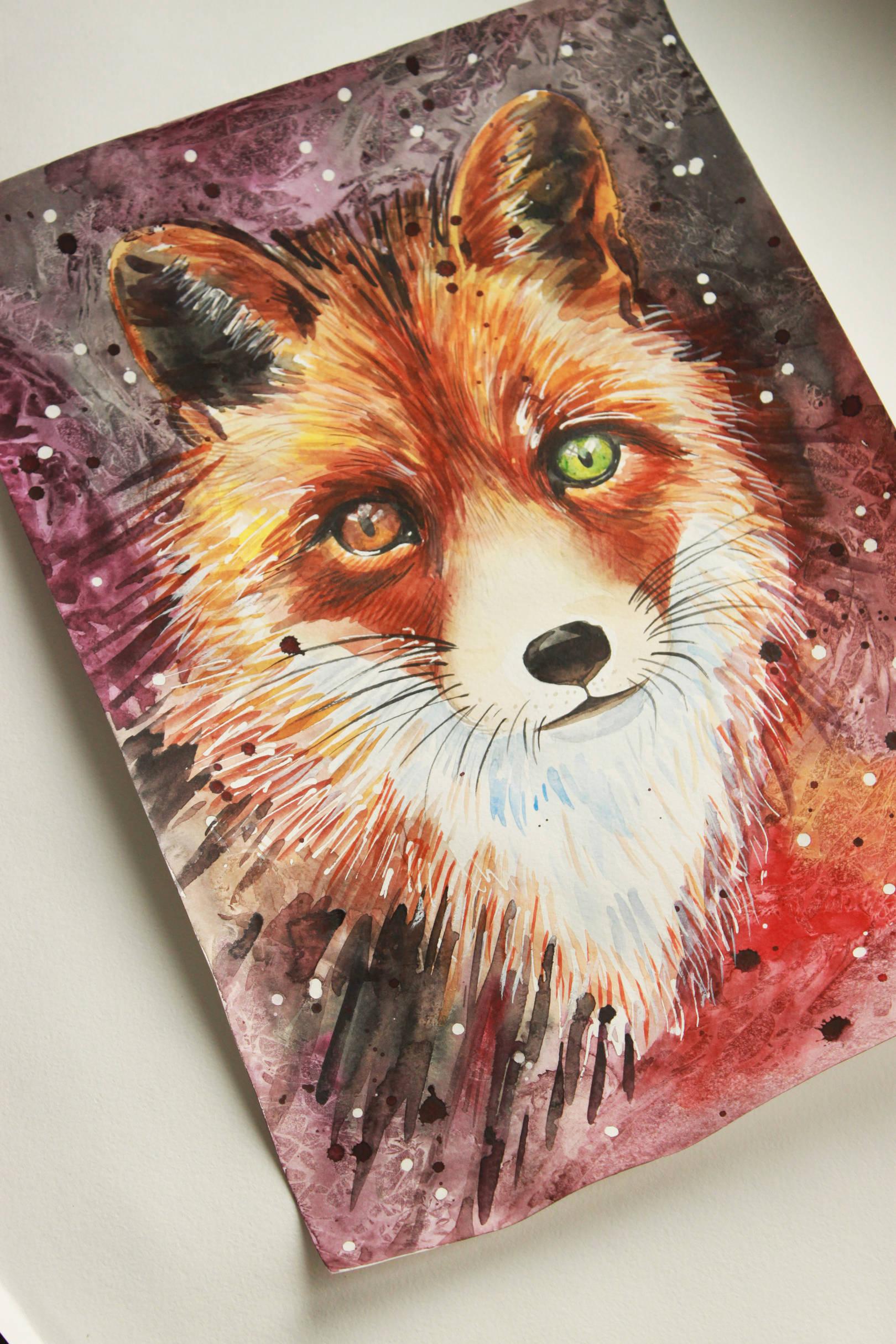 Fox.Watercolor. A3