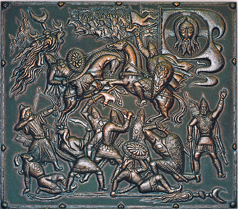 Куликовская битва (панно) 1975 г. Холст, медь; чернение 98 х 100 см