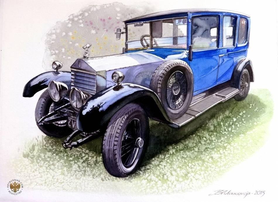 Портрет ретро-автомобиля.Акварель -победитель конкурса ,,Автомобили,,на сайте artrussian.com