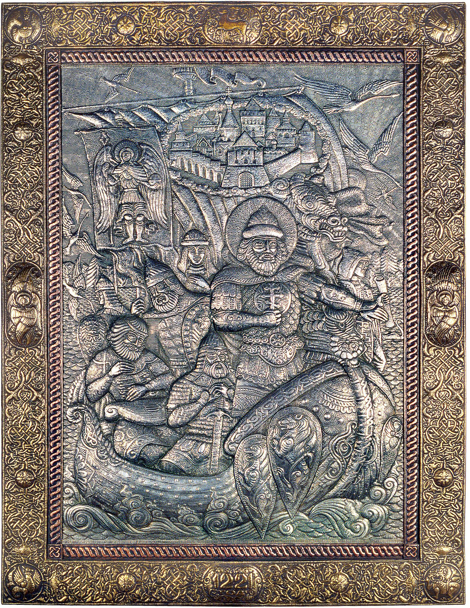 Нижегородская былина (панно) 1994 г. Алюминий, латунь, медь; чернение 150 х 117 см