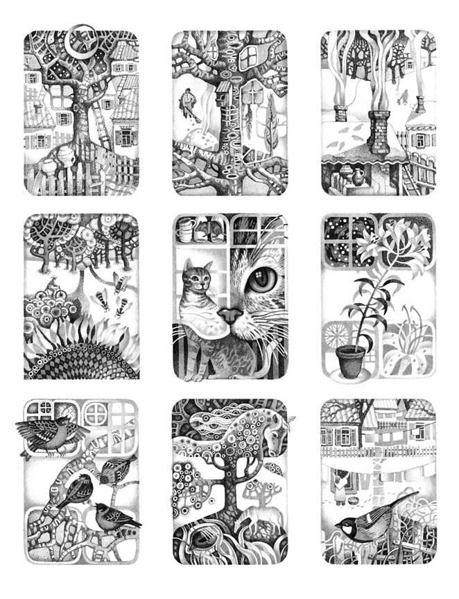 """Серия иллюстраций к книге Юрия Рогового """"Медова повінь"""". Материал: бумага, линер. Книга была издана в издательстве """"Дивосвіт""""."""