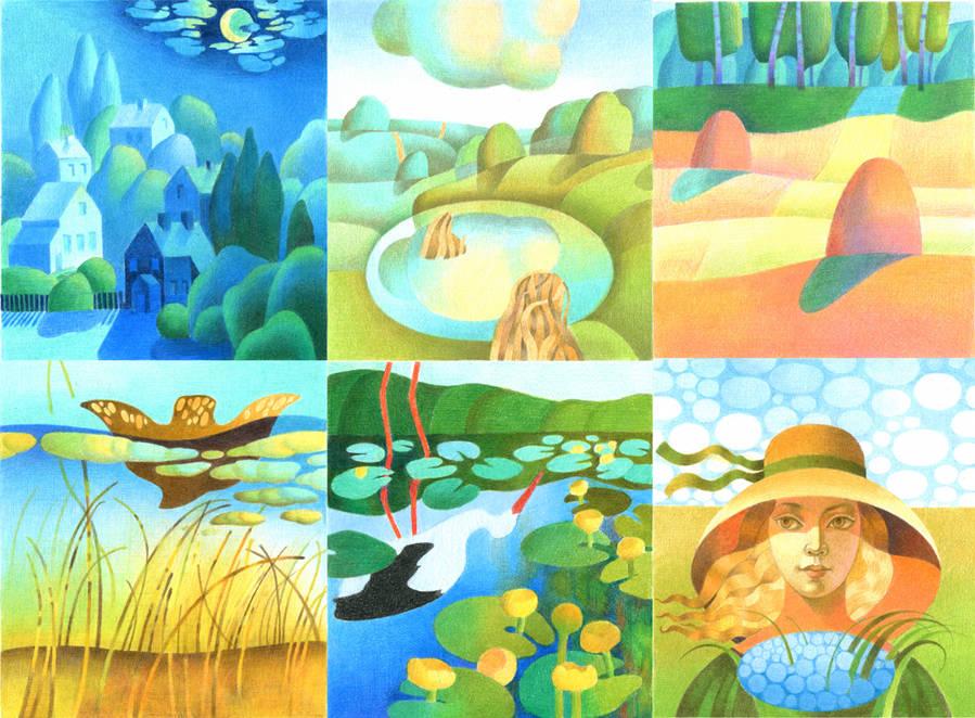 """Серия иллюстраций к одной из 5 книг Юрия Рогового """"Самотній ангел"""". Материал: бумага, цветные карандаши. Книга была издана в издательстве """"Дивосвіт""""."""