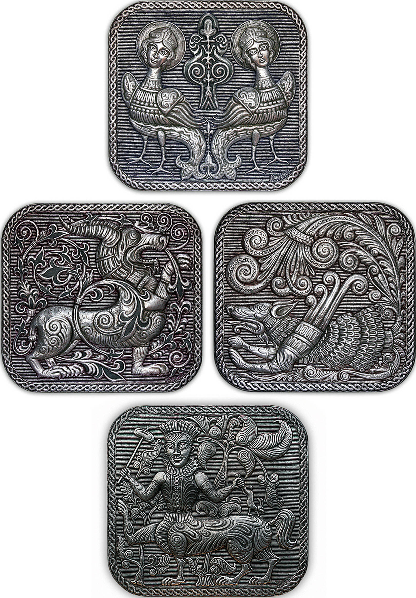 Русские древности (серия панно) 2005; 2011 г.г. Алюминий; чернение, масло