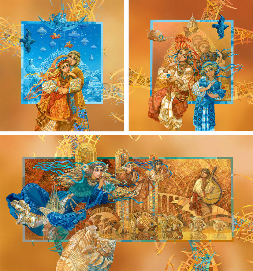 """Триптих """"Травнева ніч"""" (по мотивам одноименной повести Николая Гоголя). Материал: бумага, акварель, гуашь, аэрограф.."""