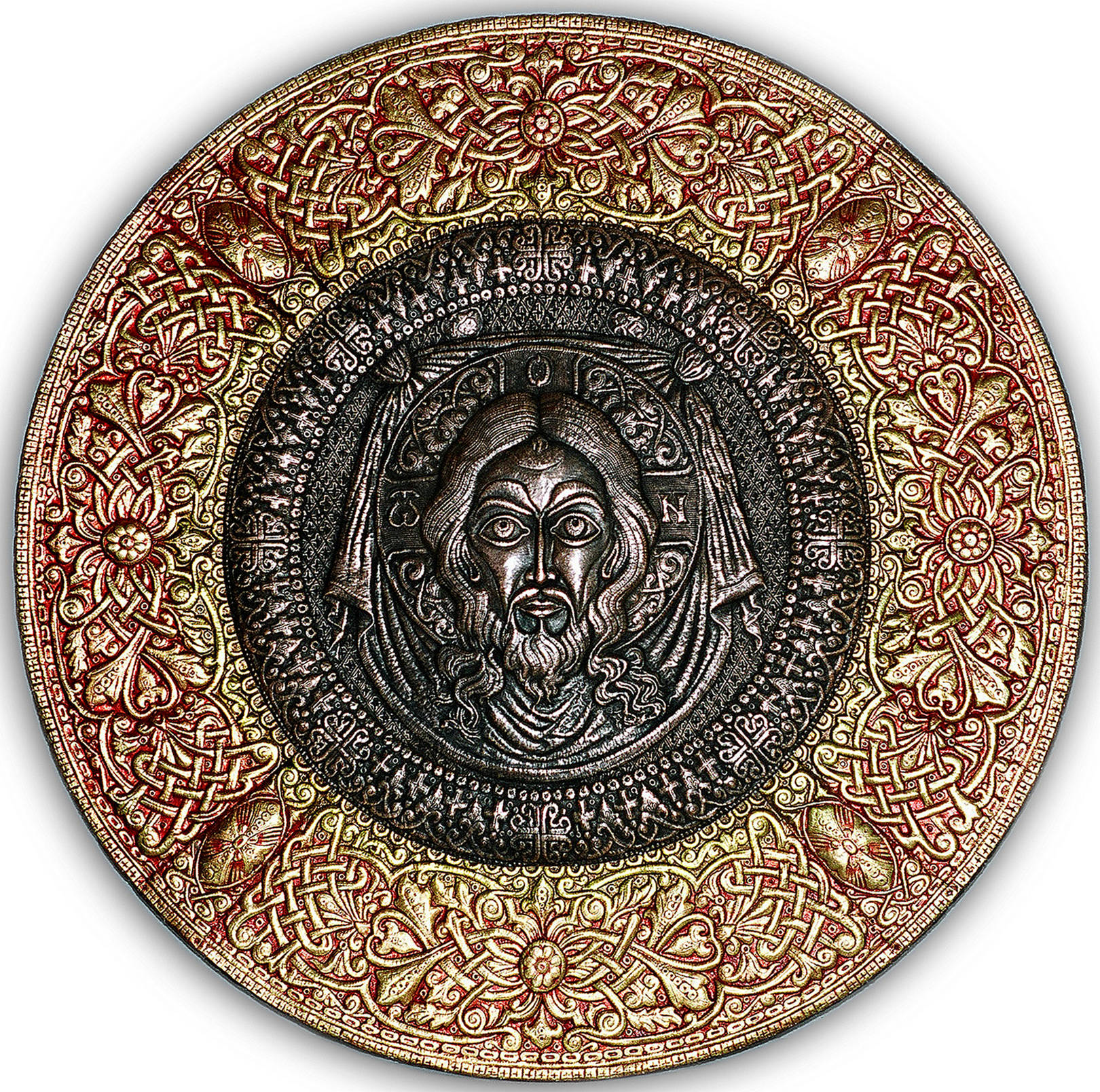 Спас Нерукотворный (панно-рондо) 2007 г. Медь, анодированный алюминий; чернение, холодная эмаль. Дм. 100 см