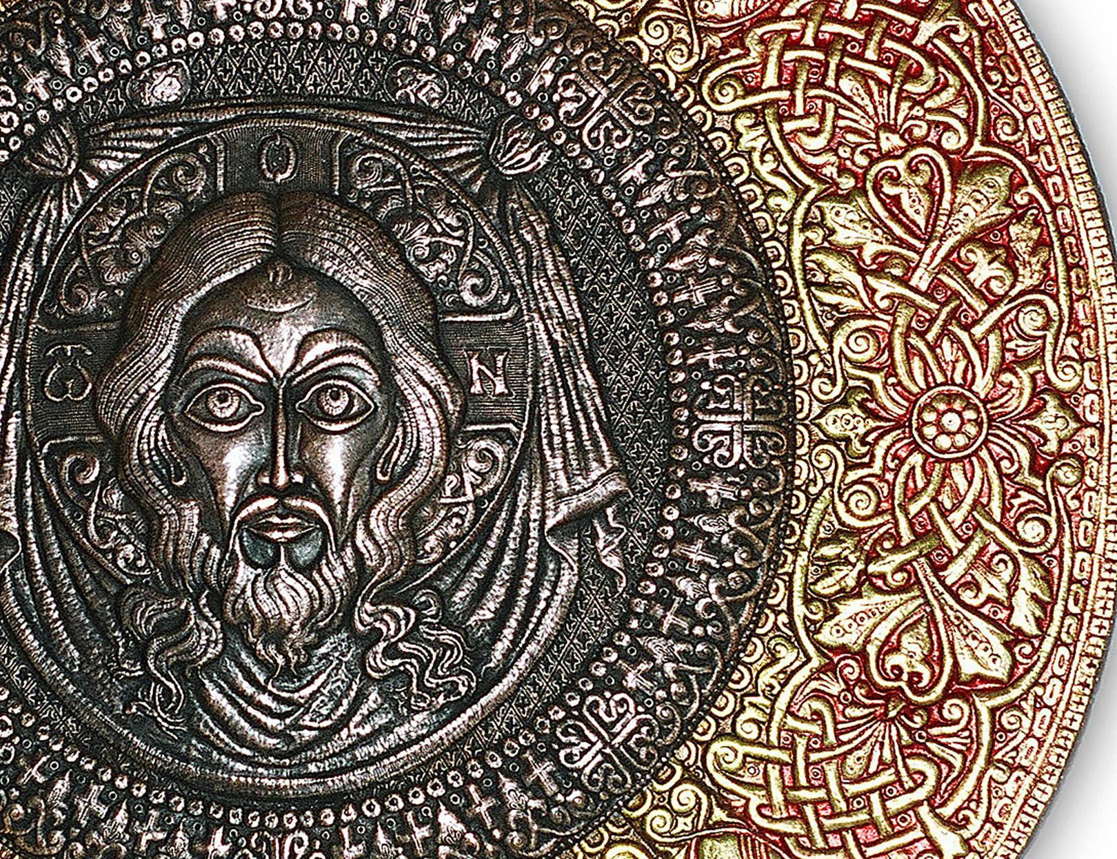 Спас Нерукотворный (фрагмент панно-рондо) 2007 г. Медь, анодированный алюминий; чернение, холодная эмаль. Дм. 100 см