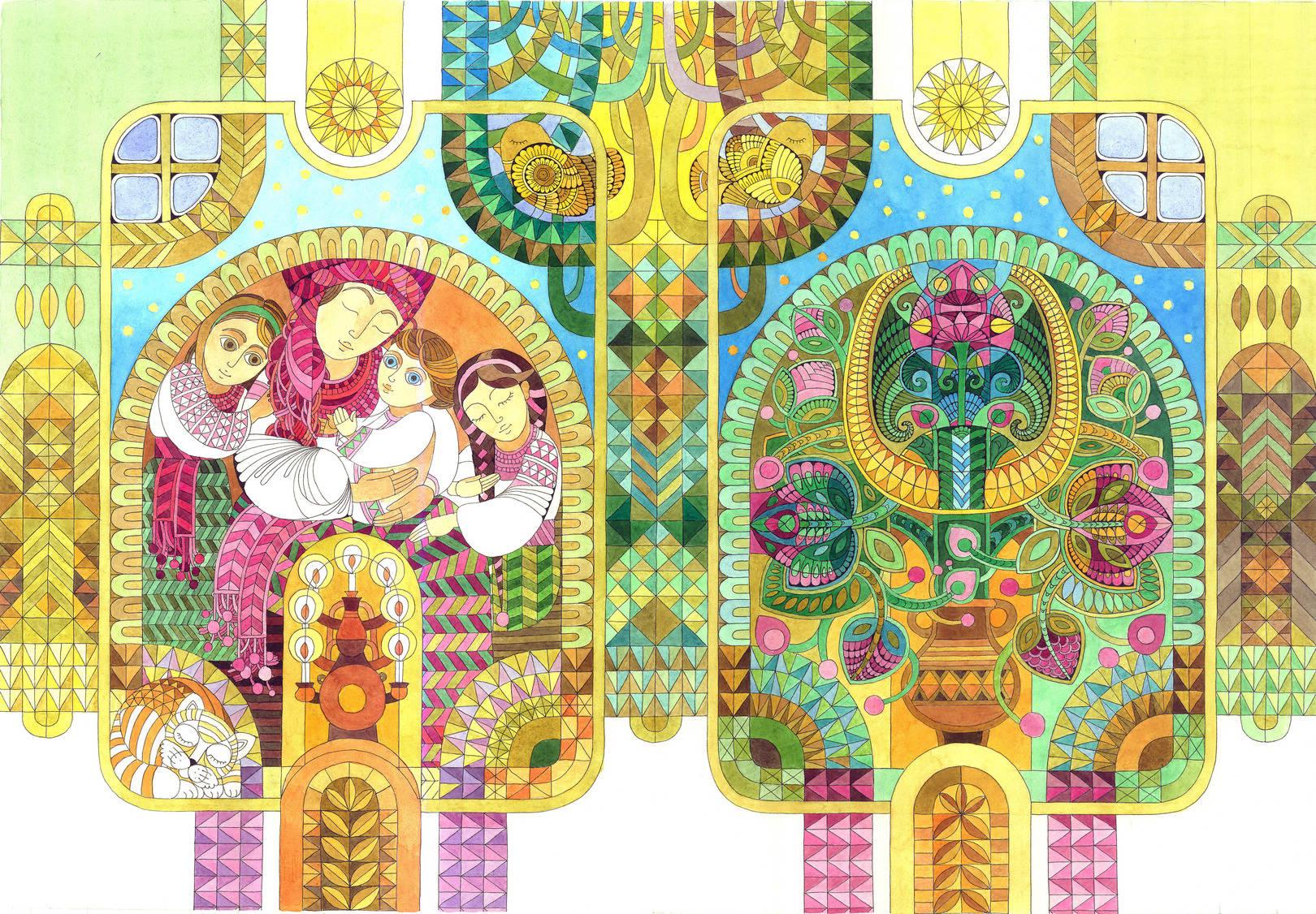 """Иллюстрация к книге """"Бабусина колискова"""". Материал: бумага, линер, акварель."""