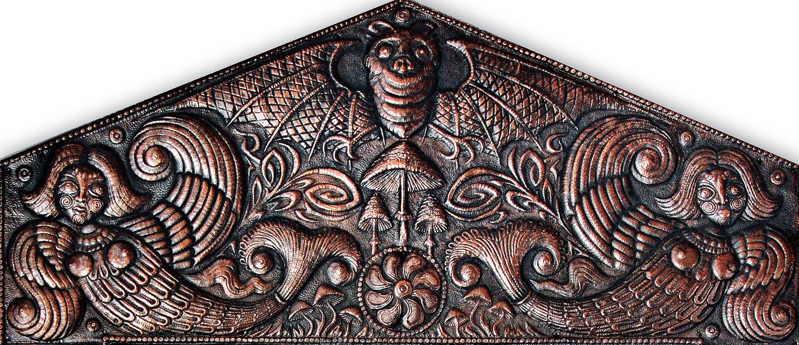 Старичок-Лесовичок (фрагмент панно) 2007 г. Алюминий, медь; чернение 103 х63 см