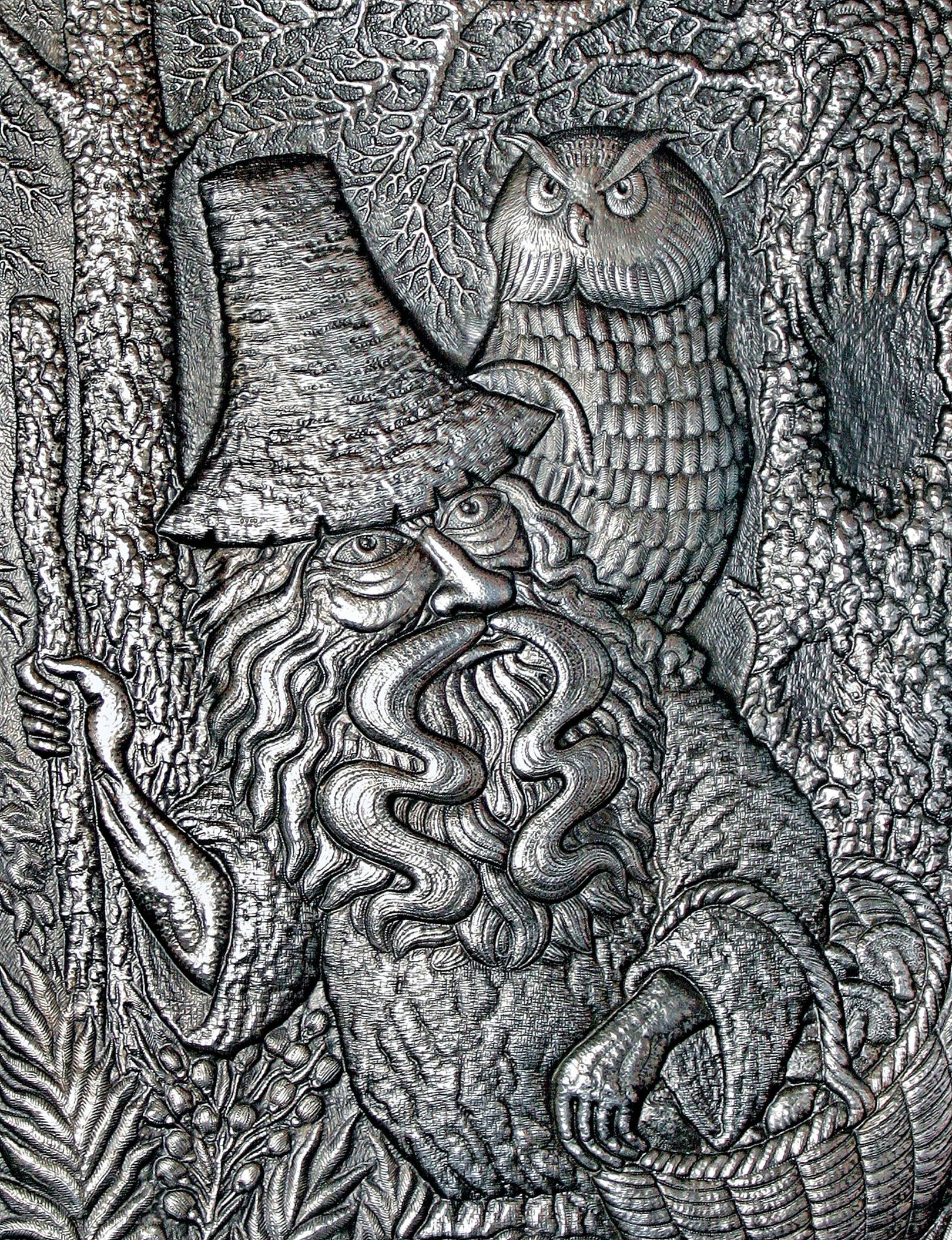 Старичок-Лесовичок (фрагмент панно) 2007 г. Алюминий, медь; чернение 103 х63 см.