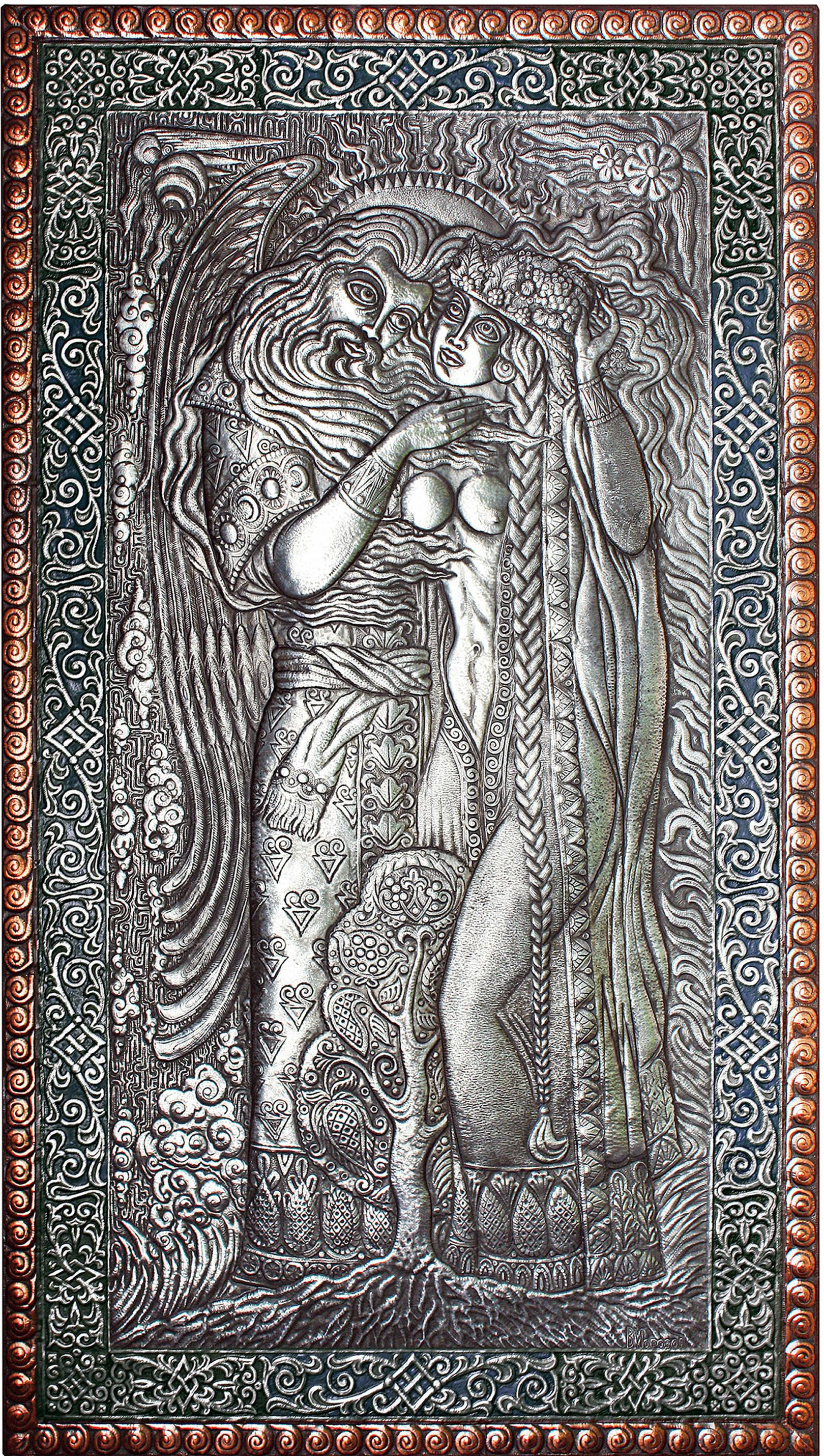 Отец Свет- Небо и Мать - Сыра Земля (панно) 2014 г. Алюминий, медь; чернение 115,5 х 66 см.  Создано по мотивам произведения Виктора Королькова